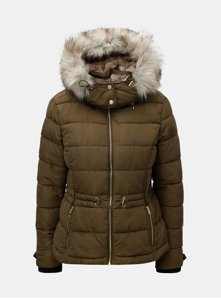 Khaki prošívaná zimní bunda s umělým kožíškem ONLY Vigga
