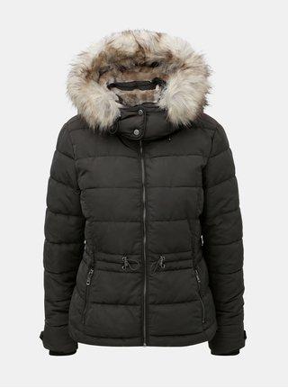 Černá prošívaná zimní bunda s umělým kožíškem ONLY Vigga