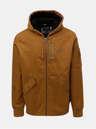 Hnedá pánska nepremokavá bunda s kapucňou a zateplenou podšívkou Quiksilver Hanago