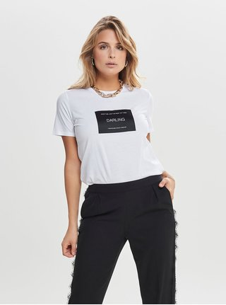 Bílé tričko s nášivkou ONLY Lux