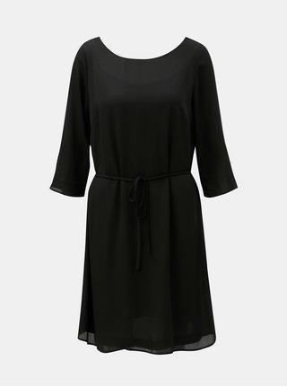 Čierne šaty s čipkou a opaskom VILA Lucy