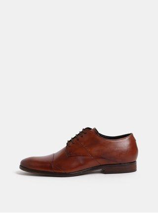 Pantofi barbatesti maro din piele cu cusaturi decorative bugatti Lando