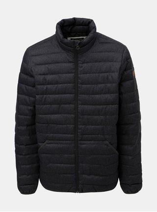 Tmavosivá pánska prešívaná nepremokavá zimná bunda Quiksilver Scaly