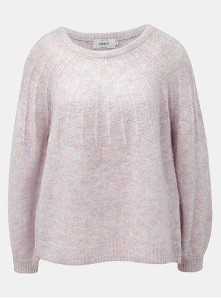 Pulover roz deschis melanj cu amestec de lana ONLY Hanna