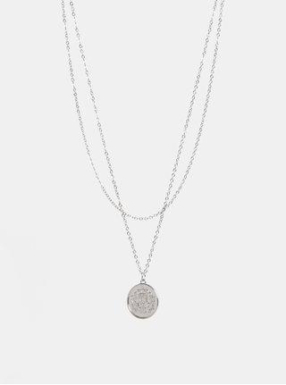 Náhrdelník ve stříbrné barvě s motivem mince Pieces Cohio
