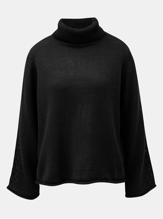Čierny voľný sveter s rolákom Jacqueline de Yong Linky