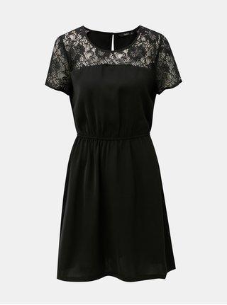 Čierne šaty s čipkovanými detailmi ONLY Glam