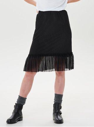 Černá puntíkovaná sukně s volánem ONLY Stina