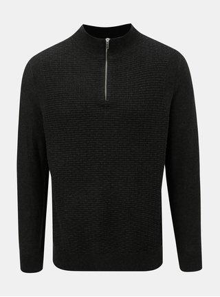 Tmavě šedý svetr se zipem Burton Menswear London
