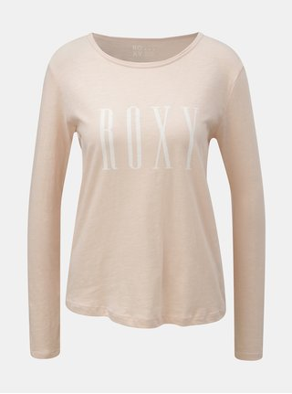 Tricou roz prafuit cu maneci lungi si imprimeu Roxy Sunset
