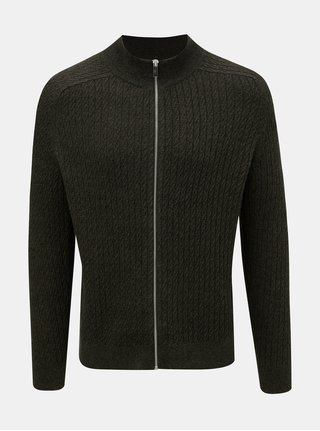 Khaki vzorovaný svetr na zip Burton Menswear London Cable