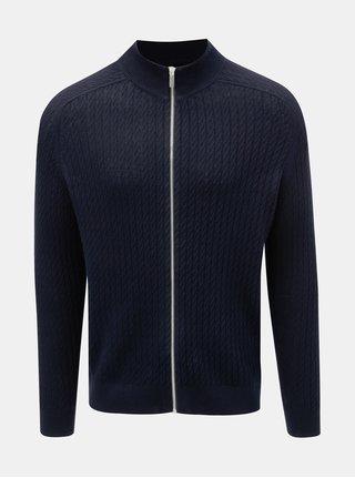 Tmavě modrý vzorovaný svetr na zip Burton Menswear London Cable
