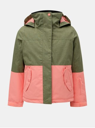 Ružovo–zelená dievčenská lyžiarska nepremokavá zimná bunda Roxy Jetty