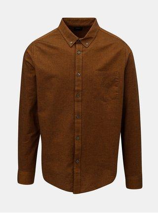Hnědá pánská košile s náprsní kapsou Burton Menswear London Rust Oxford
