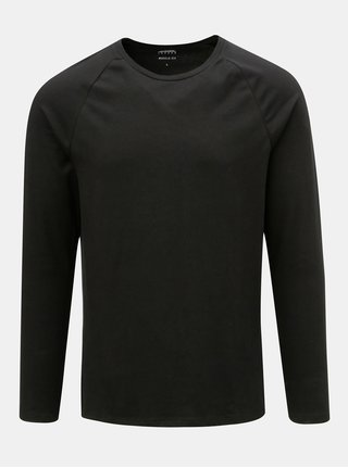 Černé basic muscle fit tričko s dlouhým rukávem Burton Menswear London