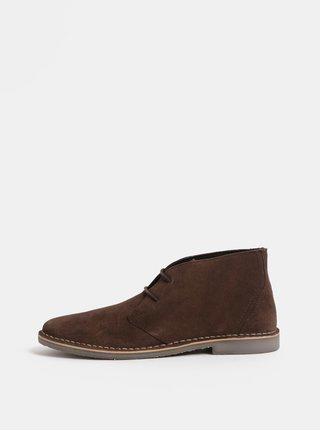 Tmavě hnědé pánské semišové kotníkové boty  Burton Menswear London Castle Desert