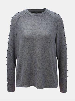 Šedý žíhaný lehký svetr s korálky VERO MODA