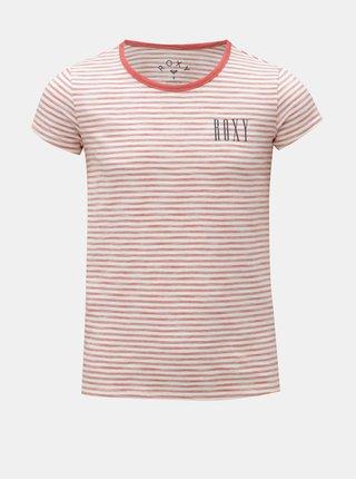 Červeno-krémové holčičí pruhované tričko Roxy Dreamano