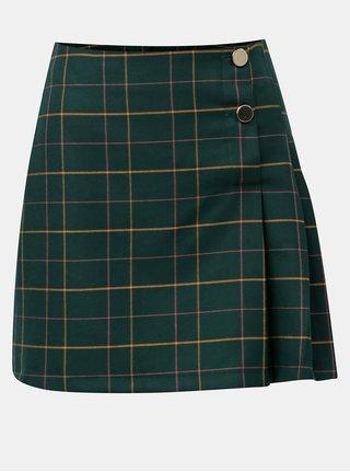 Tmavě zelená kostkovaná minisukně s knoflíky Miss Selfridge