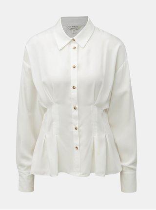 Biela košeľa s nazberaným pásom Miss Selfridge
