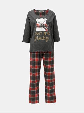 Pijama din 2 piese negru-gri cu petic de urs polar Dorothy Perkins Gry Bear