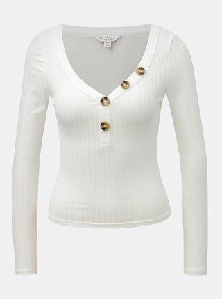 Biele skrátené tričko s dlhým rukávom a gombíkmi Miss Selfridge Horn Button