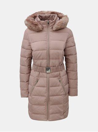 Pardesiu roz prafuit matlasat de iarna cu blana artificiala detasabila Dorothy Perkins Tall
