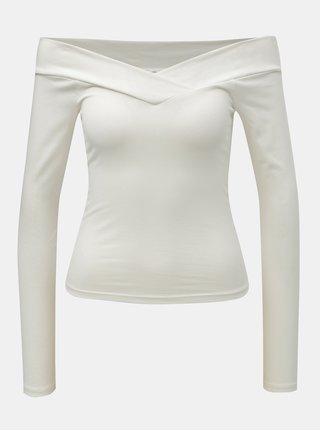 Biely skrátený top s odhalenými ramenami Miss Selfridge Cross Over Bardot