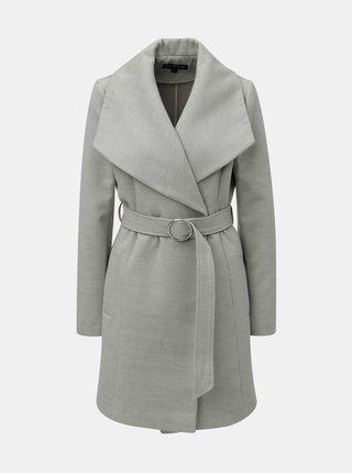 Sivý tenký kabát s opaskom Miss Selfridge