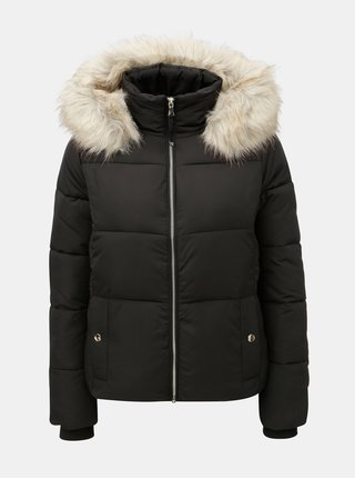 Čierna prešívaná zimná bunda s odnímateľnou umelou kožušinkou na kapucni Miss Selfridge Puffer