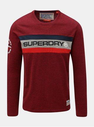 Červené pánské tričko s potiskem na rukávu Superdry Trophy