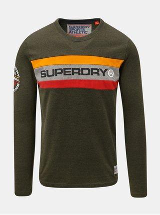 Khaki pánské tričko s potiskem na rukávu Superdry Trophy