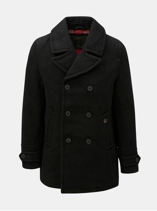 Černý vlněný kabát se zapínáním na knoflíky kabát Merc