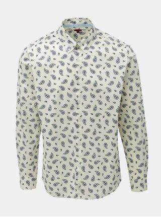 Krémová vzorovaná košeľa s dlhým rukávom Merc