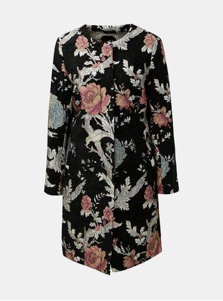 Černý květovaný kabát M&Co Jacquard