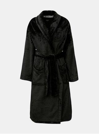 Halat de baie unisex negru cu logo brodat la spate DKNY