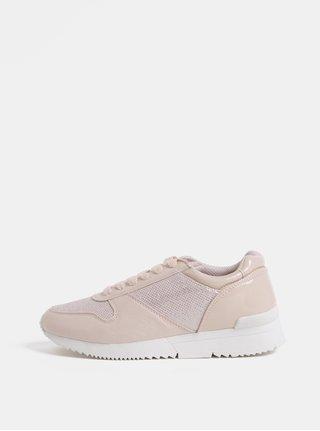 Pantofi sport roz deschis cu efect stralucitor si detalii cu aspect de piele intoarsa Dorothy Perkins