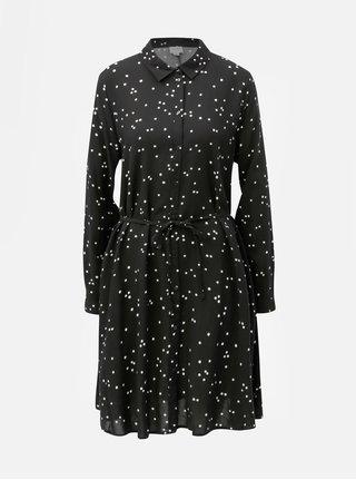 Černé košilové puntíkované šaty Jacqueline de Yong Gitte