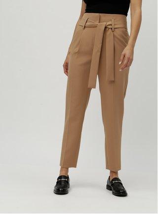 Hnědé zkrácené kalhoty s vysokým pasem Dorothy Perkins