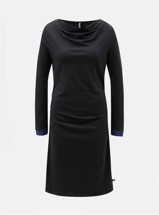 Rochie neagra cu pliuri pe decolteu si pe laturi Tranquillo Durga