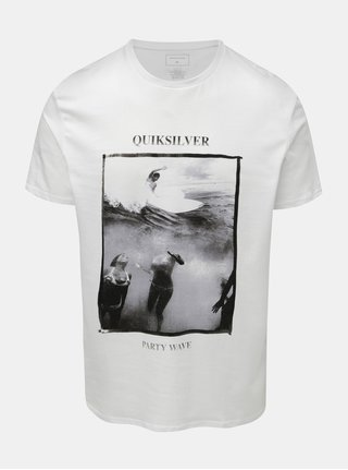 Biele pánske regular fit tričko s potlačou Quiksilver Wave Party