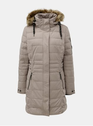 Béžový dámsky zimný prešívaný nepremokavý kabát s umelou kožušinkou killtec Hawana
