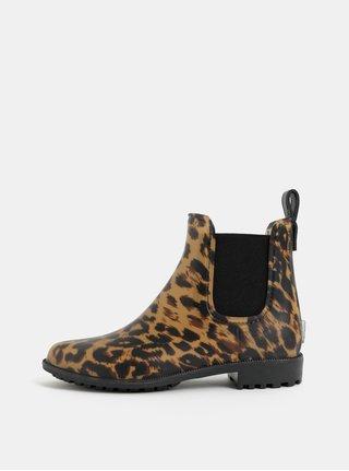 Hnedo–béžové dámske vzorované gumové chelsea topánky Tom Joule