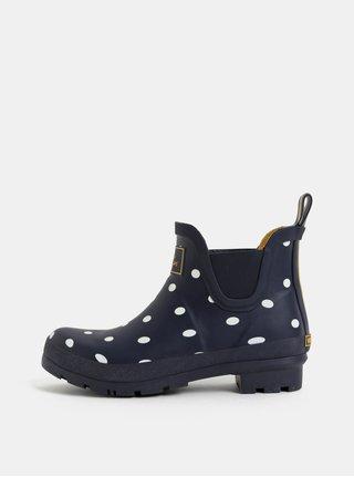 Tmavomodré dámske bodkované gumové chelsea topánky Tom Joule Wellibobs