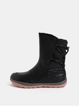 8745aa3c0358 Čierne dámske kožené členkové topánky s vnútornou umelou kožušinkou Camper  Peu Pista
