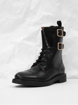 Černé kožené kotníkové boty Frau Antic