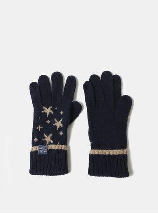 Tmavomodré dámske vzorované rukavice Tom Joule Intarsia