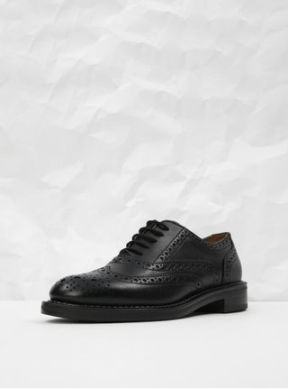 Pantofi negri din piele cu decoratie brogue Frau Seta