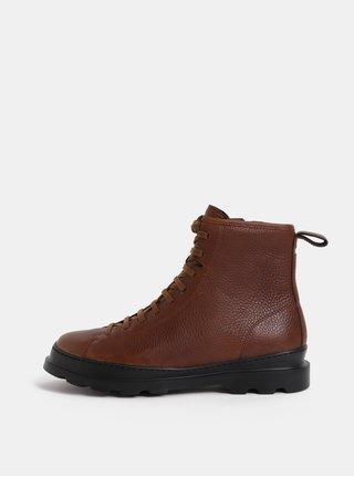 Hnědé pánské kožené kotníkové boty Camper Brutus