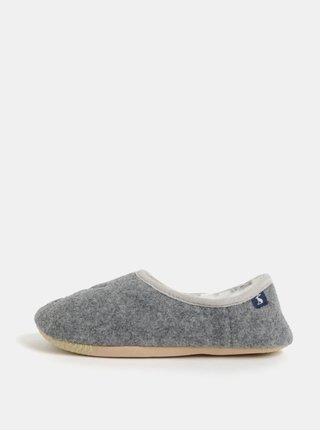 Šedé dámské žíhané papuče s výšivkou Tom Joule